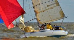 J/27 sailing off New Orleans, LA