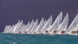 J/70s sailing off start in Key West