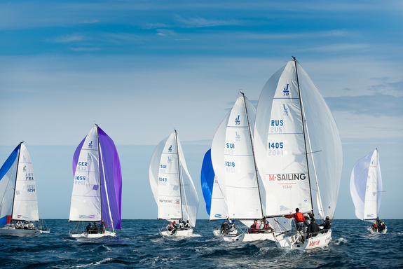 J/70s sailing with spinnakers off Monaco