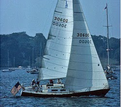 J/36 cruiser sailboat- sailing off Newport, Rhode Island