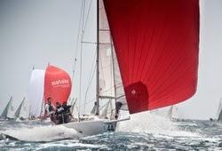 J/80 sailing under spinnaker at Barcelona, Spain