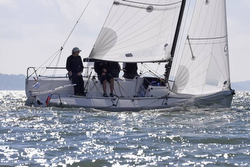 J/70 sailing upwind- UK Nationals on solent