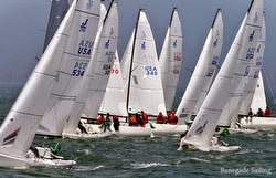 J/70 fleet sailing San Francisc Bay in Rolex Big Boat Series