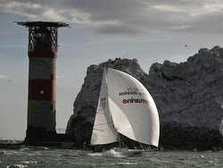 J/80 sailing Round Island race past Needles lighthouse