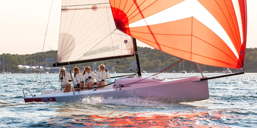 Women's J/70 sailing team off Newport