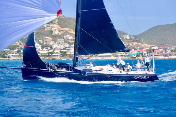 J/145 sailing off St Maarten in Caribbean