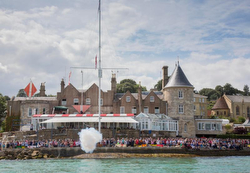 Royal Yacht Squadron starting line off Cowes, England