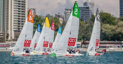 J/70s sailing Russian National Sailing League off Sochi
