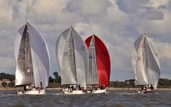 J/111 sailboats- sailing across Solent, England