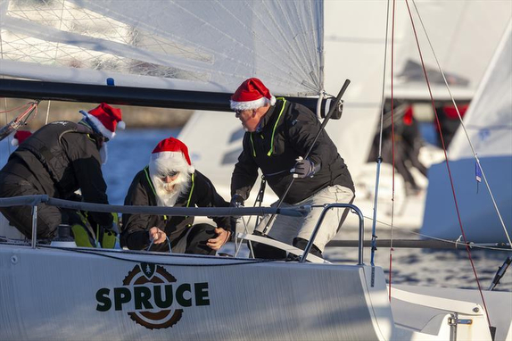 J/70 Santa Claus sailing off Marstrand, Sweden