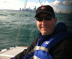 Jeff sailing J/22s offshore of Chicago