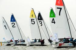 J70s sailing off start at Netherlands Sailing League