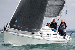 J/110 sailing fast on Round Island Race
