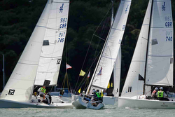 J/70s sailing Royal Yacht Squadron Bicentenary off Cowes, England