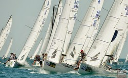 J/70s sailing off start at Key West