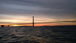J/88 sunrise at Mackinac Island Bridge