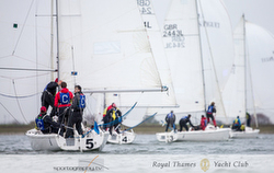 J/80s sailing UK Sailing League at Queen Mary Sailing Club