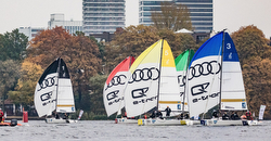 J/70s sailing German Bundesliga on Alster Lake in Hamburg, Germany