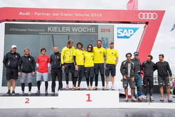 J/70 European winners podium- Kiel, Germany
