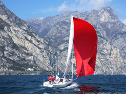 J/80 under spinnaker at Yachting Russia Cup- Lake Garda, Italy