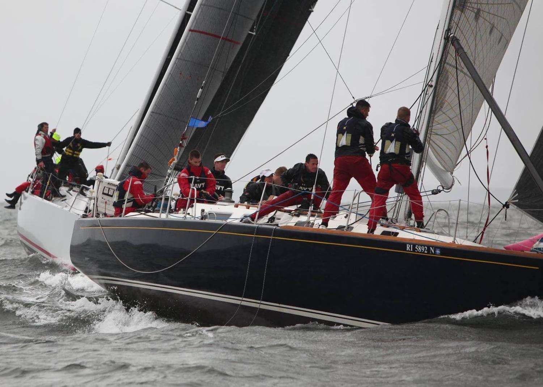 J/44 fleet sailing Storm Trysail IOR regatta