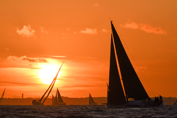 sunset sailing on the Solent