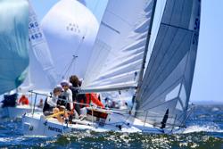 J/24 sailing upwind at Punta del Este, Uruguay