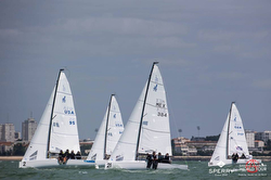 J/70s sailing first race of J/70 Worlds- La Rochelle, France