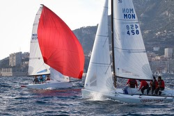 J/70s sailing Monaco Winter Series off YC Monaco