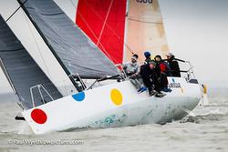 J/88 sailing upwind on Solent