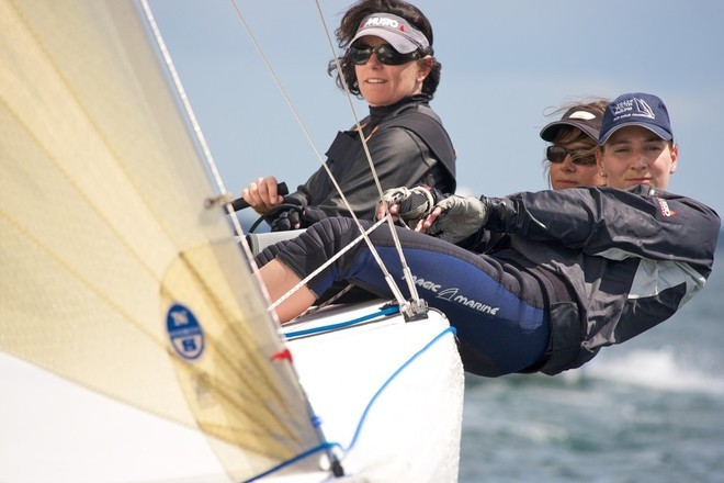 Ulrike Schumann sailing on German Olympic team