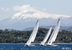 J/70s sailing Patagonia, Chile- Volcano Villarico in background
