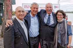 J/70 sailors celebrate with Willy Kuhweide