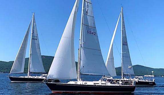 J/42 sailing off Camden, Maine