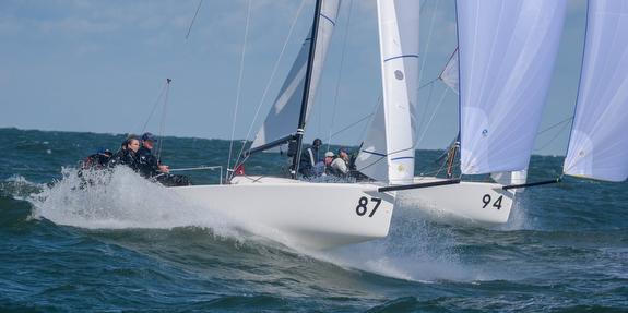 J/70s sailing off Cleveland, Ohio