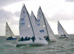 J/70s sailing off start at Warsash Spring series