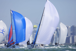 J/70s planing fast- sailing off Miami in Bacardi