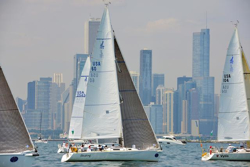 J/105s sailing off Chicago, IL