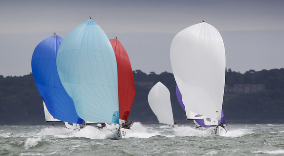 J/70s sailing fast on the Solent