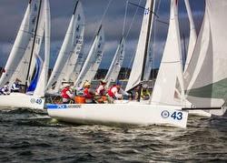 J/70 sailboat rounding mark at New York YC regatta