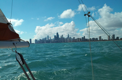 J/22 sailing off Chicago