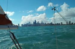 J/22 sailing off Chicago