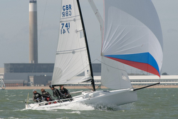 J/70 sailing fast on Solent
