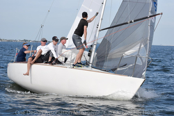 J/24 sailing team off Miami