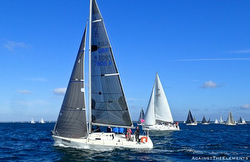 J/105s sailing J.P. Morgan Round Island Race- Isle of Wight, England