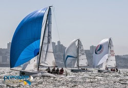 J/70 sailboats- sailing Rolex Big Boat Series, San Francisco