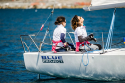 Women J/80 sailors at Blue Project in Italy