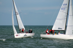 J/70s sailing Grosse Pointe YC sailing league off Detroit