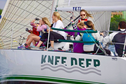 J/34 KNEE DEEP sailing women's team off Cleveland, OH