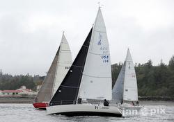 J/105 sailing Race to the Straits off Seattle, WA